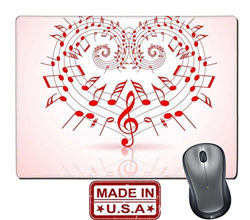 "Liili Natural Rubber Mouse Pad/Mat with Stitched Edges 9.8"" x 7.9"" IMAGE ID: 8859065 Valentines day music theme notes thats make a (Mirror Image Clipart)"