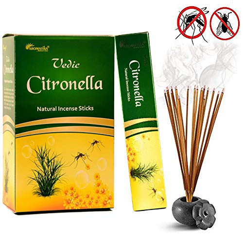 Aromatika Vedic Citronella natural masala incense sticks pack of 12 of 15 gm each | handrolled in India | organic