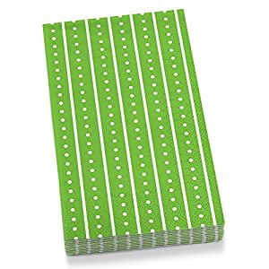 """""""Stripes and Dots"""" Green Theme Guest Towel Napkins, Pack of 20"""