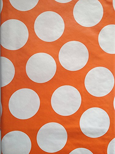 Summer Fun Flannel Back Vinyl Tablecloths - Orange and White Polka Dot - Assorted Sizes (52 x 90 -
