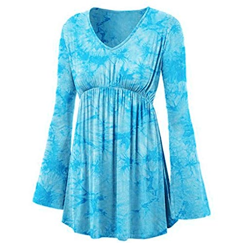 YKARITIANNA Women Fashion V-Neck Tie-Dye Print Long Sleeve Tops Pleated Waist Line Blouse ()