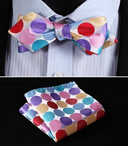 Mondaily Pink Red Blue Polka Dot Men Diamond Point Tip Self Bow Tie Pocket Squaret #PPTE4412