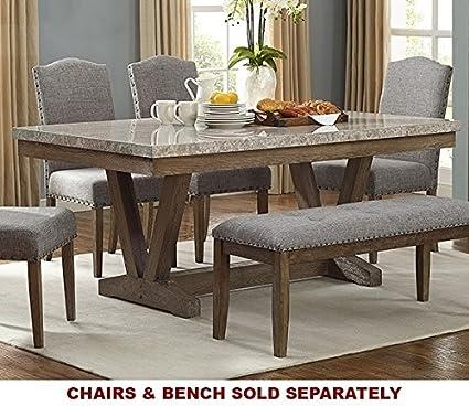 Amazoncom Vesper Oak Wood Dining Table W Rectangular Marble Top - Marble top dining table with bench