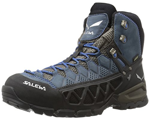Salewa Men's ALP Flow Mid GTX Alpine Trekking Boots, Black Olive/Royal Blue, 10.5 by Salewa