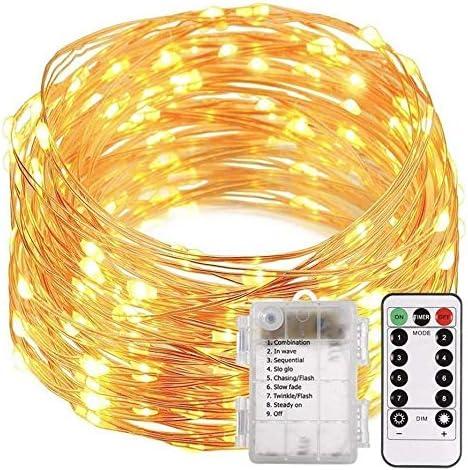 Lichterkette, 10 m, 100 LEDs, Niederspannung, 31 V, für den Innenbereich, für Weihnachtsbaum, Party, Hochzeit, Veranstaltungen, Garten, batteriebetrieben, wasserdicht, 8 Modi