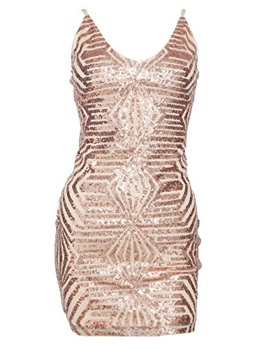a3b647332c Madam Uniq Women s Sequin Dress Strap Deep V Neck Cocktail Dresses Club