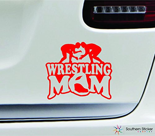 Wrestling mom player 3.9x4.5 red family grappling uniform sport combat united states america color sticker state decal vinyl - Made and Shipped in USA (Combat Players)