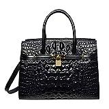 PIJUSHI Women Purses And Handbags Crocodile Top Handle Satchel Bags Designer Padlock Handbags (9016 Black)