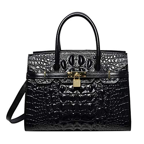 PIJUSHI Women Purses And Handbags Crocodile Top Handle Satchel Bags Designer Padlock Handbags (9016 Black)