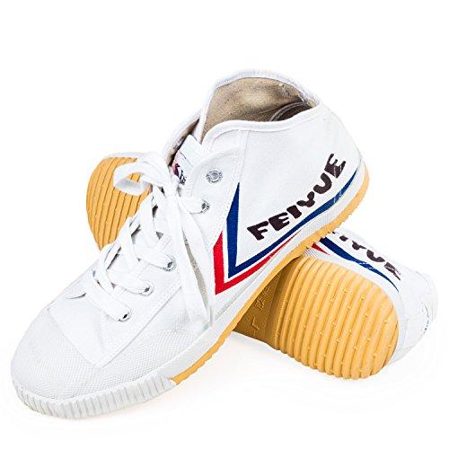 wu designs - Zapatillas para deportes de interior de Lona para hombre Blanco blanco 35 negro