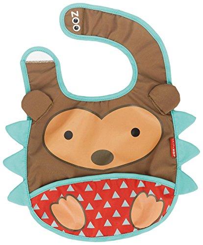 Skip Hop Zoo Little Kid and Toddler Tuck-Away Water Resistant Baby Bib, 6 Months +, Multi Hudson Hedgehog