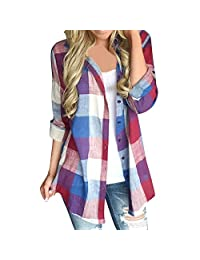 kingfansion - Womens Shirts Button Plaid Shirt Work Top Elegant