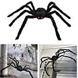 AISENO Giant Spider 4.2FT/125cm With LED Eyes Spooky Sound Halloween Decorations Foldable Spider
