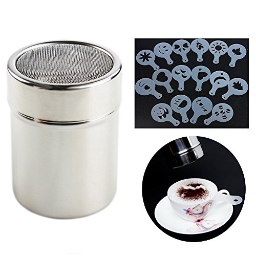 FairTree Coffee Duster Fine Mesh Flour Coffee Shaker Stainless Steel and 16pcs Cappuccino Coffee Stencils Template with Spray Art