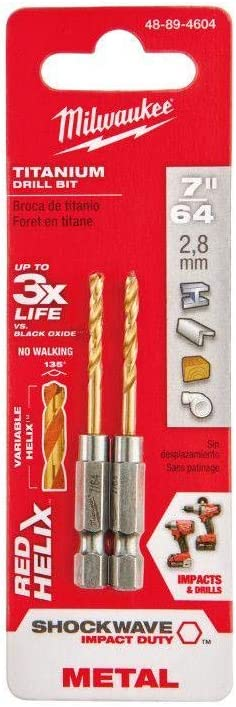 Milwaukee Shockwave RED Helix 1//4 Hex Shank Impact Drill Bits 1//8 Pack of 2