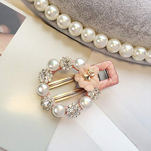 Women Pearl Acrylic Hair Clips Snap Barrette Stick Hairpin Hair Accessories (Color - style 41-pink)