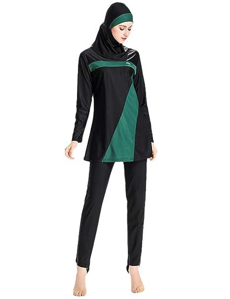 d8d9270ca3a40 Zhhlinyuan Muslim Modest Swimwear Womens Hindu Jewish Long Islamic Swimwear  Burkini Full Length Beachwear - 3 Pieces UV Protection: Amazon.co.uk:  Clothing