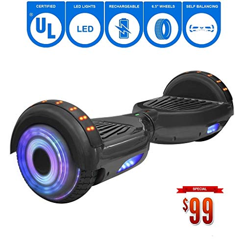 NHT 6.5' Matte Classic Style Hoverboard Self Balancing Scooter w/LED Lights Silver Wheels (Black (No Bluetooth))