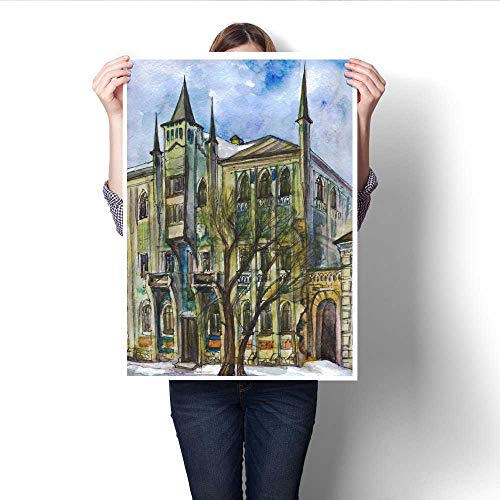 Canvas Painting Sticker Mansion in The Gothic Style Watercolor Painting Print On Canvas for Wall Decor -