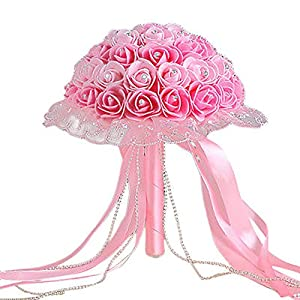 dezirZJjx Artificial Flowers Rhinestone Lace Bridal Bridesmaid Wedding Bouquet Artificial Rose Flowers Props - Pink+Light Pink 25