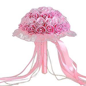 dezirZJjx Artificial Flowers Rhinestone Lace Bridal Bridesmaid Wedding Bouquet Artificial Rose Flowers Props - Pink+Light Pink 62
