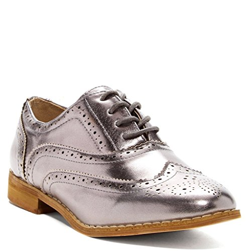 Bucco+Oxee+Womens+Fashion+Vegan+Leather+Oxford+Shoes%2C+Pewter%2C+Size+9%2C+US