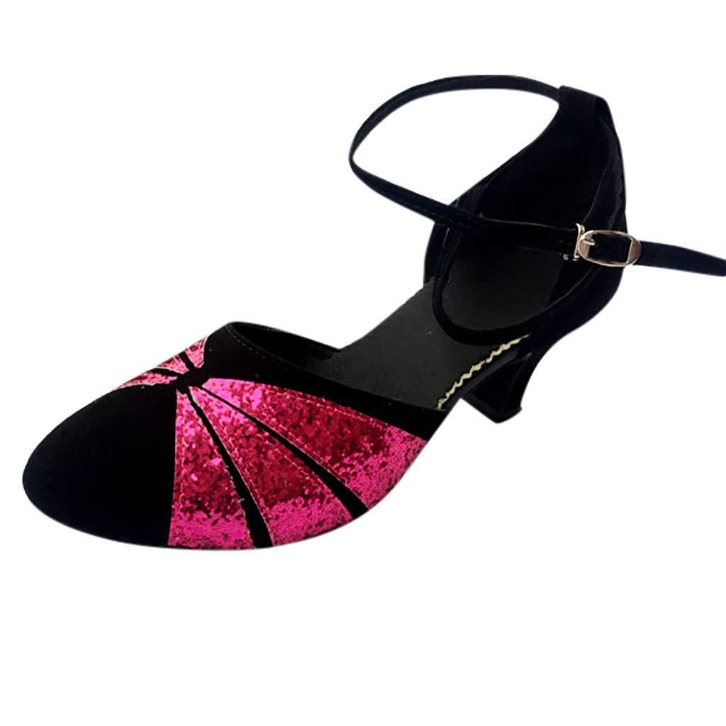 Zapatos de Baile de Baile de Salsa Latino Tango para Mujer Zapatos de Lentejuelas Zapato de Baile Social