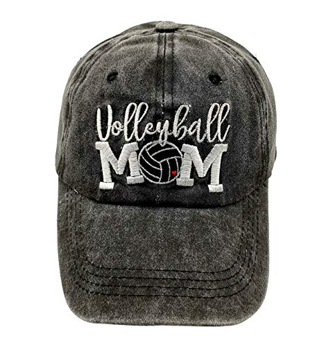 LOKIDVE Embroidered Volleyball Mom Hat Distressed Cotton Baseball Cap for Women Black ()