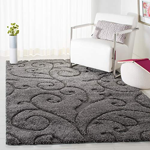 Safavieh Florida Shag Collection Scrolling Vine Grey Graceful Swirl Area Rug (8
