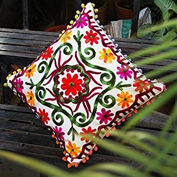 Craftofpinkcity Indian Handmade Suzani Square Cushion Cover Throw Hand Embroidered Pillow Case Decorative Cushion Cover 16''