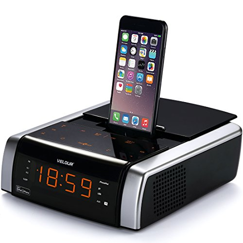 VELOUR Alarm Clock with Apple Lightning Speaker Docking Station Radio Bluetooth for iPhone8, 8plus, x, 7, 7plus, 6, 6s, 6splus, 5, 5s [Apple MFi Certified]