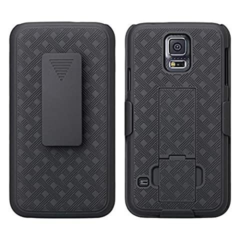 Samsung Galaxy S5 Case, Black Swivel Slim Belt Clip Holster Armor Protective Case, Defender Cover (SHELL HOLSTER COMBO) (BLACK HOLSTER SHELL (Best Samsung S5 Case)