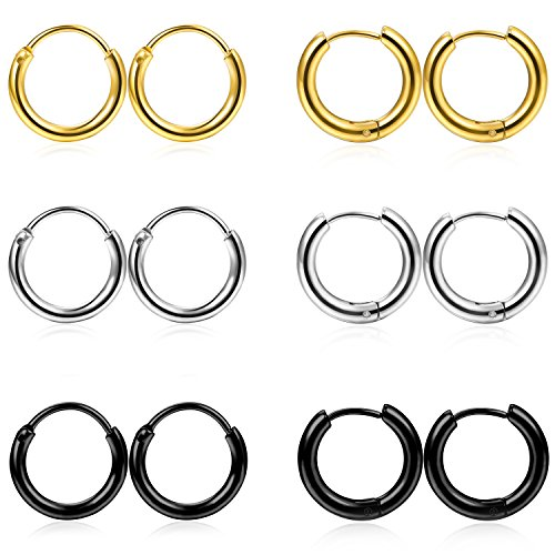 FIBO STEEL 6 Pairs Stainless Steel Cartilage Hoop Earring for Men Women Small Endless Hoop Earring Huggie 18G 10mm Hoop (Gold Tone Huggie Earrings)