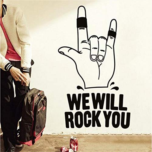 LSFHB 58X99Cm Art Design Home Decoration Vinyl We Will Rock You Wall Sticker Removable House Decor Famous English Song Decal in -