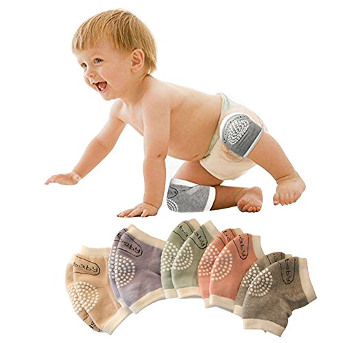 Unisex Baby Toddlers Crawling Kneepads Adjustable Anti-Slip Knee Elbow Pads 5 Pairs (5 Pairs)