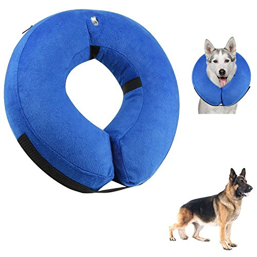QISHENG TRADE Protective Inflatable Dogs Collar, Soft Pet Recovery Collar for Small Medium Large Dogs and Cats, Designed to Prevent Pets From Touching Stitches, Blue, - Procollar Inflatable