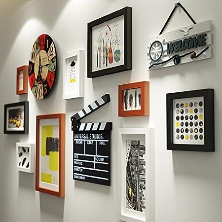 Foto Reloj de pared Fotos Combinación pared decoración Reloj de pared de la Escalera de la cama en el Salón Dormitorio decorativa madera maciza fotográfico en la pared blanca que Negro Color: