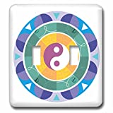 3dRose Sven Herkenrath Symbol - Yin Yang colorful Background Symbol Sign Balance Meditation - Light Switch Covers - double toggle switch (lsp_254364_2)