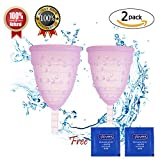 Menstrual Cups,Moon Cup Menstrual Cup Best,Menstrual Cup Disposable-Menstrual Cup Low Cervix Set of 2 with Free Sterile Gloves