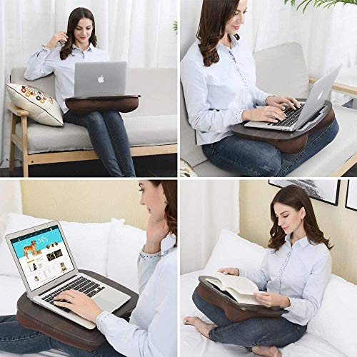 Lap Desk with Cushion for Laptop and Tablet - Fits up to 15.6 inch Slim Laptop, X-Large Laptop Stand with Pillow Cushion & Wood Platform Ideal on Bed & Sofa, with Anti-Slip Strips & Carry Handle