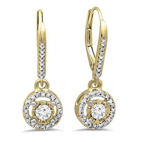0.50 Carat (ctw) 14K Yellow Gold Round Diamond Ladies Cluster Halo Style Dangling Drop Earrings 1/2 CT by DazzlingRock Collection