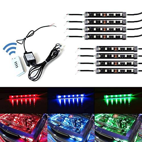- iJDMTOY 8-Piece Universal Fit 48-LED RGB Multi-Color LED Engine Bay or Under Car Ambient Decorational Lighting Kit w/Wireless Remote Control