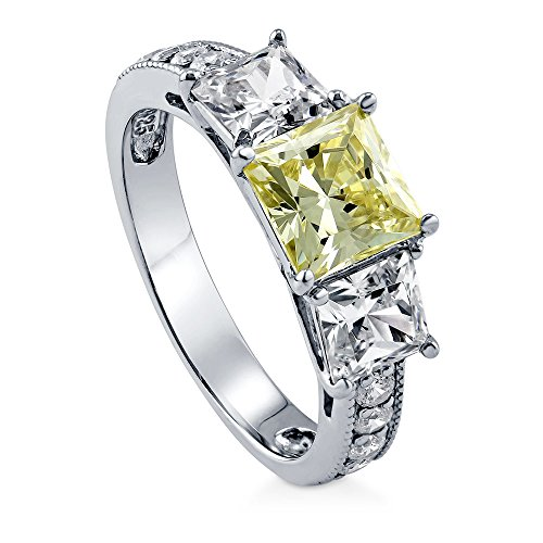 BERRICLE Rhodium Plated Sterling Silver Canary Yellow Princess Cut Cubic Zirconia CZ 3-Stone Anniversary Promise Engagement Ring 3.25 CTW Size 7