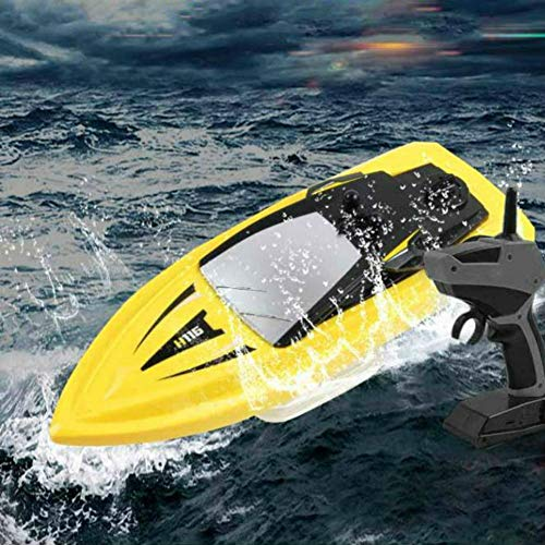 SkyCo H116 RC Boat 2.4Ghz Small Size Remote Control Electric RC Racing Boats Toy for Kids Men Girls Adults Pool Lake Outdoor Use Yellow