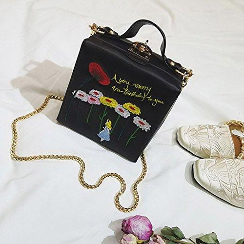 Box Square Tote Black Small Cross 00329 Sling body Mini Women Chain Satchel Handbag Monique Bag wqf1Hf