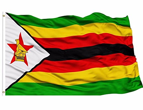 (DFLIVE- Zimbabwe Flag 3x5 ft Printed Polyester Fly Zimbabwean National Flag Banner with Brass Grommets)
