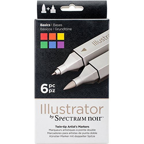 Flask Spectrum - Illustrator by Spectrum Noir 6 Piece Twin Tip Artist Alcohol Marker, Basic