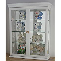 "DisplayGifts SOLID WOOD Tuscan Style Wall Curio Cabinet, Stand or Wall Mount, 19.75"" W X 26"" H X 7"" D, WHITE"