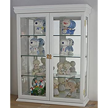 Tuscan Style Hardwood Wall Curio Cabinet, Stand Or Wall Mount (WHITE)