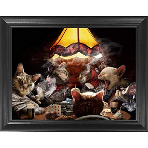 Poker Cats 3D Poster Wall Art Decor Framed Print | 14.5x18.5 | Lenticular Posters & Pictures | Trippy Memorabilia Gifts for Guys & Girls Bedroom | Funny Parody Art & Cool Fantasy Movie TV Show Picture